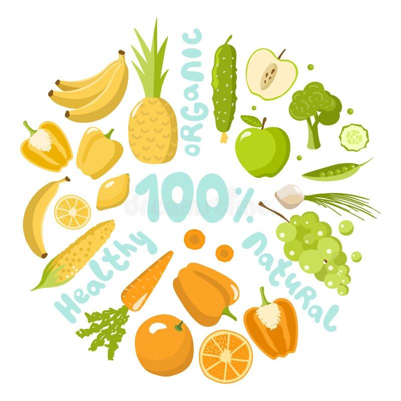 Υγιή τρόφιμα που τίθενται στο άσπρο υπόβαθρο απεικόνιση αποθεμάτων