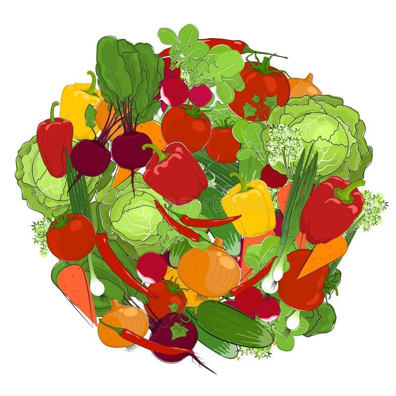 Υγιή τρόφιμα, φρέσκα λαχανικά απεικόνιση αποθεμάτων