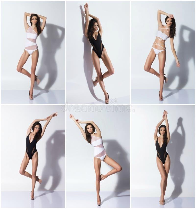 Υγιείς, φίλαθλες και όμορφες γυναίκες στο λευκό Το λίπος χάνει, υγεία, αθλητισμός, ικανότητα, διατροφή, liposuction, υγιές στοκ φωτογραφία
