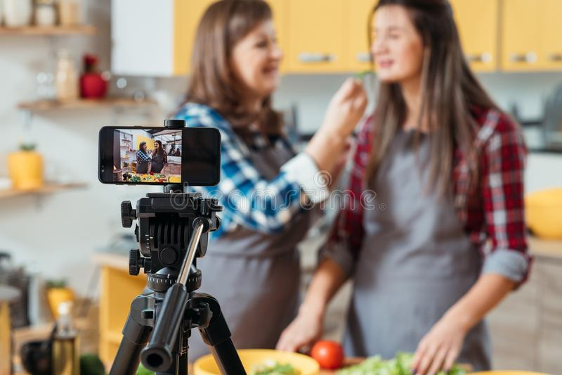 Υγιεινή διατροφή blog οικογενειακού ελεύθερου χρόνου μαγειρική τηλεοπτική στοκ εικόνες με δικαίωμα ελεύθερης χρήσης