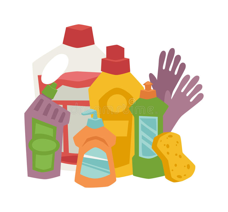 Υγιεινή καθαρισμού σπιτιών και επίπεδα διανυσματικά εικονίδια προϊόντων καθορισμένα απεικόνιση αποθεμάτων