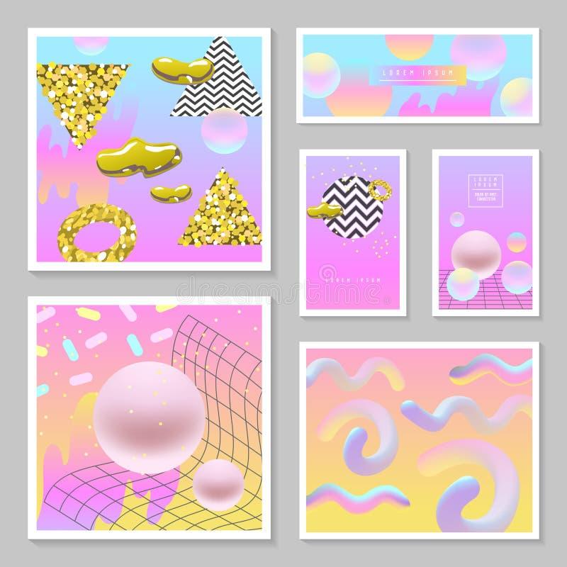 Υγρά αφηρημένα πρότυπα καθορισμένα Τα ρευστά χρώματα με χρυσό ακτινοβολούν γεωμετρικά στοιχεία Αφίσα, έμβλημα, κάρτες, φυλλάδιο,  απεικόνιση αποθεμάτων