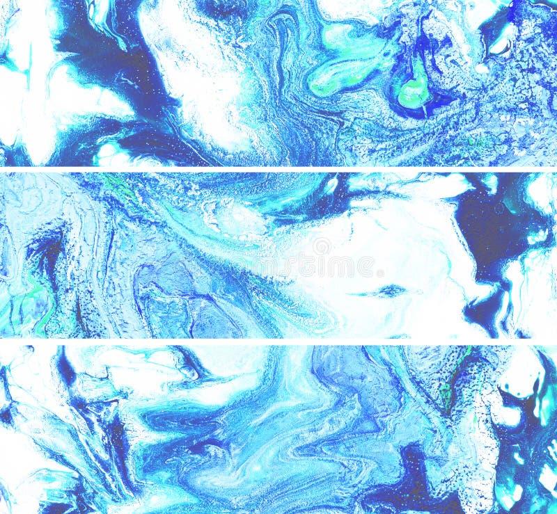 Υγρές marbling μπλε οριζόντιες συστάσεις χρωμάτων Ακρυλικοί ρευστοί λεκέδες Grunge Μπλε μίγμα χρωμάτων brushstrokes και ραβδώσεις διανυσματική απεικόνιση