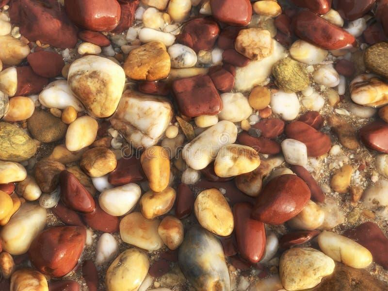 Υγρή ζωηρόχρωμη πέτρα βράχων στο νερό στην παραλία κοντά στο αφηρημένες υπόβαθρο και τη σύσταση παραλιών στοκ εικόνα