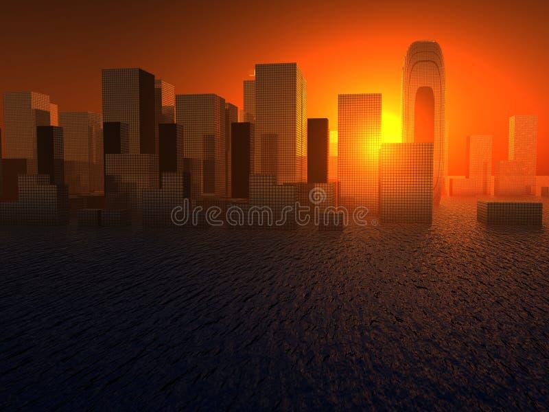Υγρή πόλη διανυσματική απεικόνιση