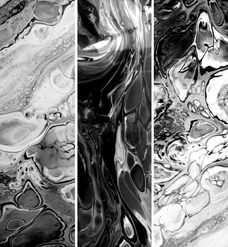 Υγρή marbling μαύρη συλλογή συστάσεων χρωμάτων κάθετη Ακρυλικοί ρευστοί λεκέδες Grunge Μονοχρωματικό χρώμα brushstrokes και ελεύθερη απεικόνιση δικαιώματος