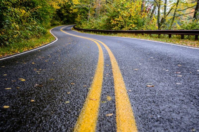 Υγρός δρόμος στα βουνά το φθινόπωρο στοκ φωτογραφίες με δικαίωμα ελεύθερης χρήσης
