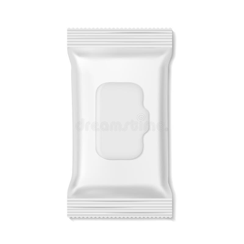 Πακέτο ροής Υγρός σκουπίζει το κενό πρότυπο ομορφιάς φαρμακείων ιατρικής υγιεινής πακέτων, ρεαλιστικό πρότυπο περικαλυμμάτων καρα ελεύθερη απεικόνιση δικαιώματος