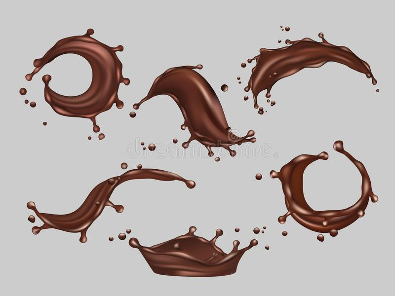 Παφλασμοί σοκολάτας Υγρό κακάου διανυσματικό ρεαλιστικό πρότυπο ποτών τροφίμων καυτό απεικόνιση αποθεμάτων