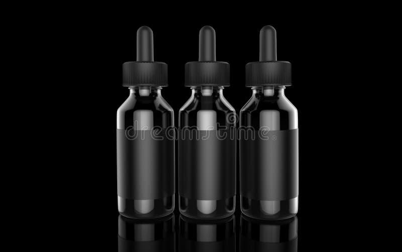 Υγρό μπουκάλι τσιγάρων Ε στο μαύρο υπόβαθρο Vape τρισδιάστατη απεικόνιση διανυσματική απεικόνιση
