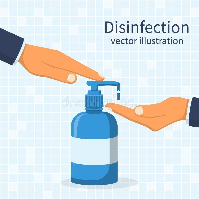 Υγρό σαπούνι με την άντληση από το μπουκάλι ελεύθερη απεικόνιση δικαιώματος