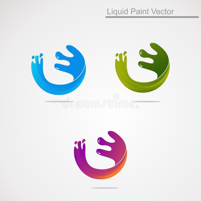Υγρό χρώμα παφλασμών με το ζωηρόχρωμο διάνυσμα, το εικονίδιο, το στοιχείο, και το πρότυπο λογότυπων έννοιας για την επιχείρηση ελεύθερη απεικόνιση δικαιώματος