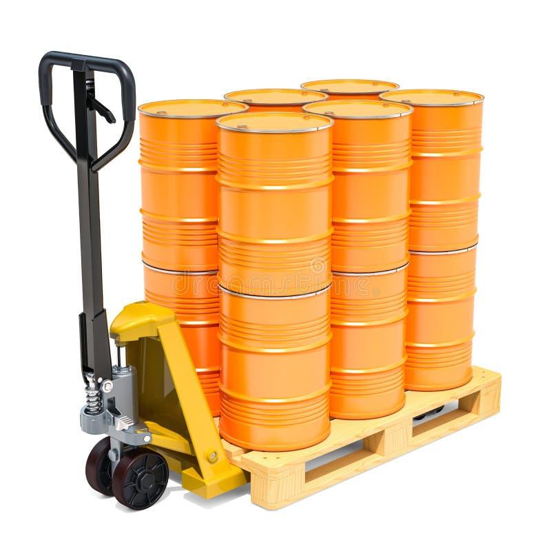 Υδραυλικό φορτηγό παλετών με τα κίτρινα βαρέλια, τρισδιάστατη απόδοση στοκ φωτογραφίες
