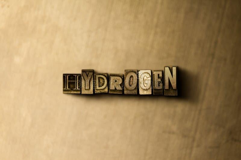 ΥΔΡΟΓΟΝΟ - κινηματογράφηση σε πρώτο πλάνο της βρώμικης στοιχειοθετημένης τρύγος λέξης στο σκηνικό μετάλλων διανυσματική απεικόνιση