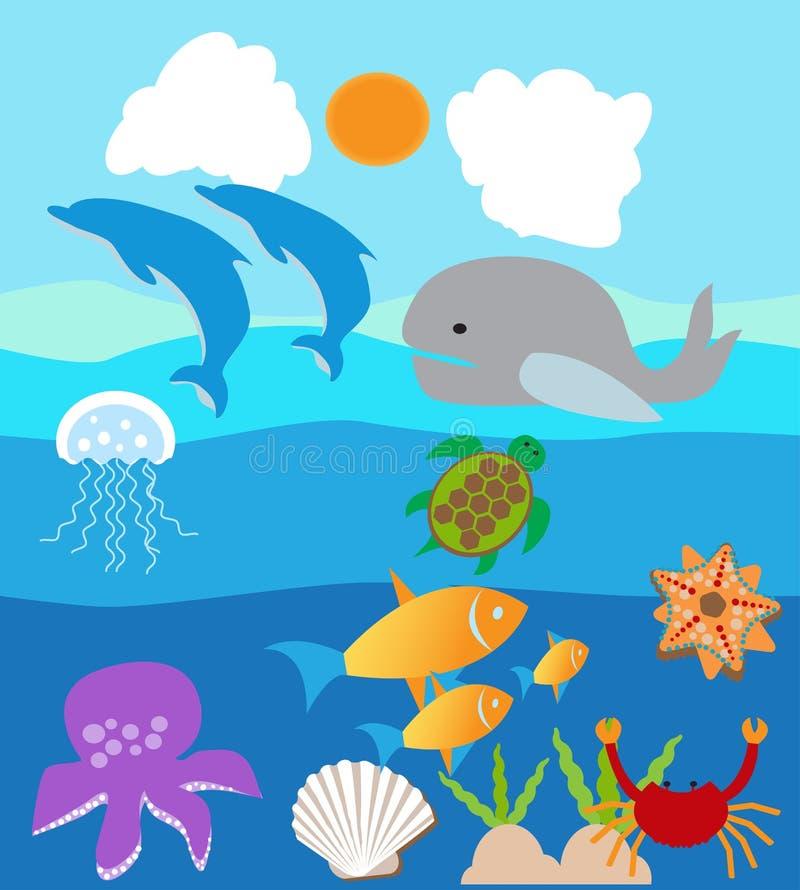 Υδρόβια ζωική ζωή σε μια θάλασσα ή ένα ωκεάνιο νερό απεικόνιση αποθεμάτων
