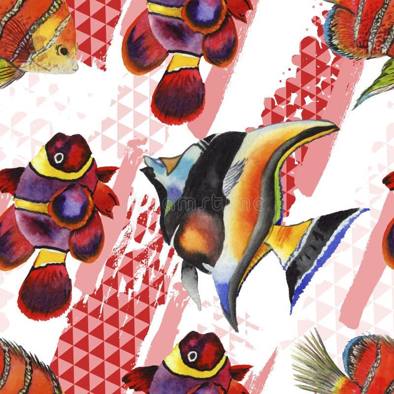 Υδρόβιο υποβρύχιο ζωηρόχρωμο τροπικό σύνολο απεικόνισης ψαριών Watercolor Άνευ ραφής πρότυπο ανασκόπησης διανυσματική απεικόνιση