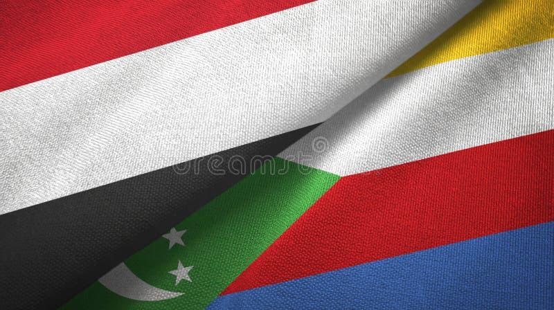 Υεμένη και Κομόρες δύο υφαντικό ύφασμα σημαιών, σύσταση υφάσματος απεικόνιση αποθεμάτων