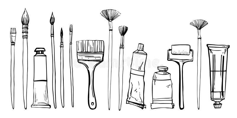 Υλικά ζωγραφικής καλλιτεχνών Συρμένη χέρι τυποποιημένη διανυσματική απεικόνιση σκίτσων Βούρτσες και σωλήνες χρωμάτων απεικόνιση αποθεμάτων