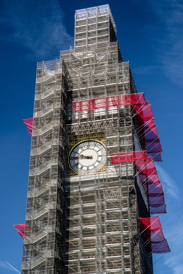 Υλικά σκαλωσιάς Big Ben στοκ φωτογραφία με δικαίωμα ελεύθερης χρήσης