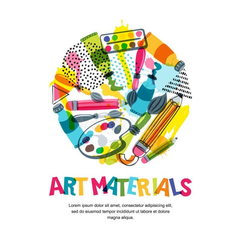 Υλικά τέχνης για το σχέδιο και τη δημιουργικότητα τεχνών Απομονωμένη διάνυσμα απεικόνιση στη μορφή κύκλων Έμβλημα, υπόβαθρο αφισώ ελεύθερη απεικόνιση δικαιώματος