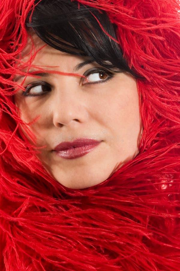 υλική κόκκινη μαλακή γυναίκα στοκ εικόνα