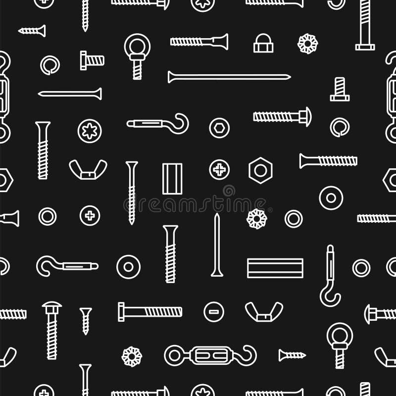 Υλικό, βίδες, μπουλόνια, καρύδια και καρφιά κατασκευής σχεδίων Άνευ ραφής εξοπλισμός σχεδίων ανοξείδωτος, σύνδεσμοι, μέταλλο διανυσματική απεικόνιση