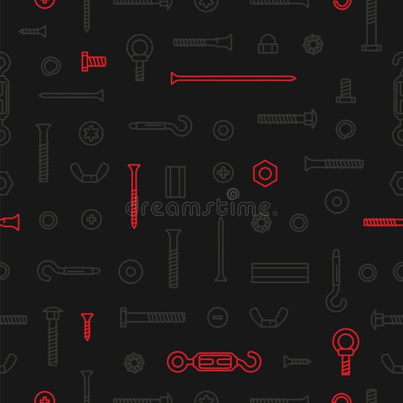 Υλικό, βίδες, μπουλόνια, καρύδια και καρφιά κατασκευής σχεδίων στο μαύρο υπόβαθρο Εξοπλισμός ανοξείδωτος, σύνδεσμοι, μέταλλο απεικόνιση αποθεμάτων