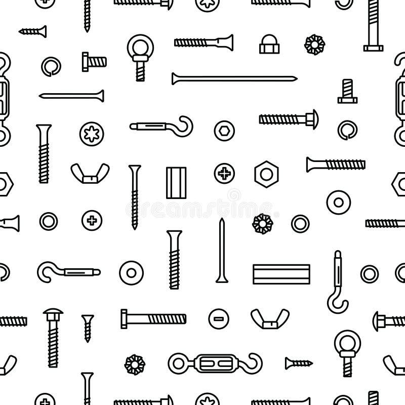 Υλικό, βίδες, μπουλόνια, καρύδια και καρφιά κατασκευής σχεδίων Εξοπλισμός ανοξείδωτος, σύνδεσμοι, εργαλείο σταθεροποίησης μετάλλω διανυσματική απεικόνιση