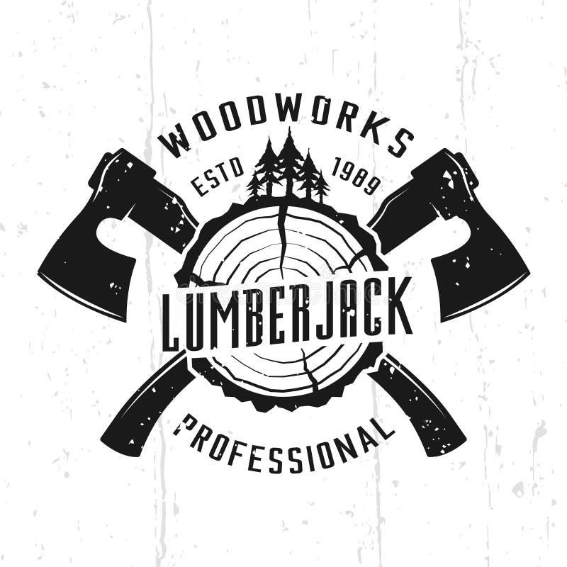 Υλοτόμος και woodworks μονοχρωματικό διανυσματικό έμβλημα ελεύθερη απεικόνιση δικαιώματος