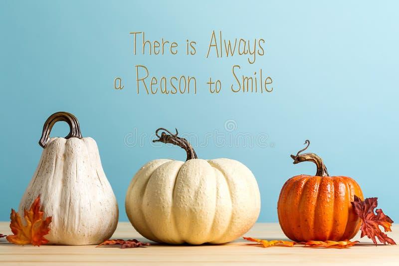 Υπάρχει πάντα ένας λόγος να χαμογελαστεί το μήνυμα με τις κολοκύθες στοκ φωτογραφία με δικαίωμα ελεύθερης χρήσης