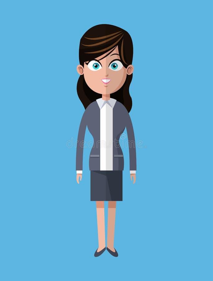 Υπάλληλος επιχειρησιακών γκρίζος κοστουμιών γυναικών κινούμενων σχεδίων διανυσματική απεικόνιση