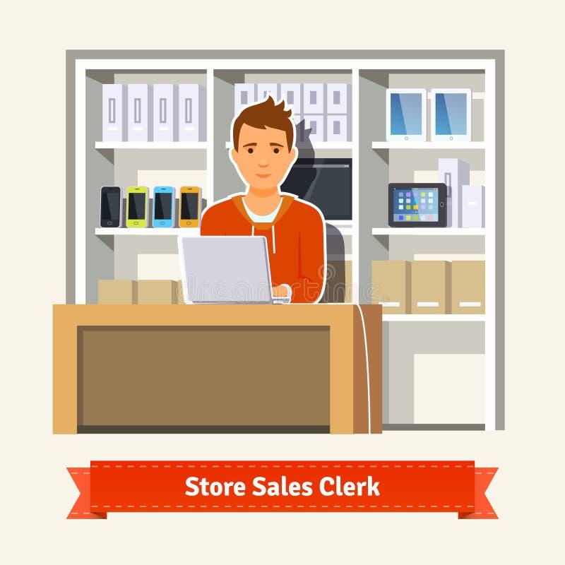 Υπάλληλος πωλήσεων που συνεργάζεται με τους πελάτες ελεύθερη απεικόνιση δικαιώματος