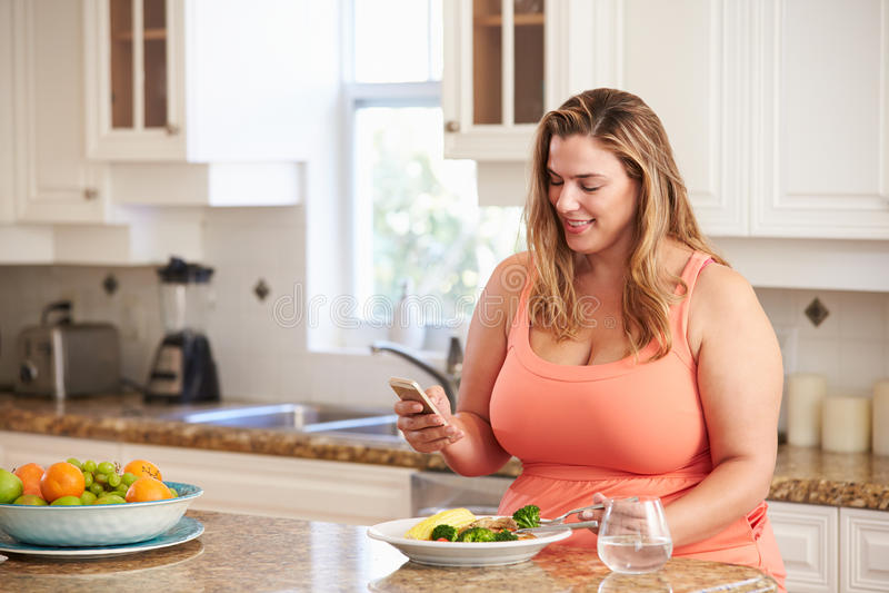 Υπέρβαρη γυναίκα που τρώει το υγιές γεύμα και που χρησιμοποιεί το κινητό τηλέφωνο στοκ εικόνες με δικαίωμα ελεύθερης χρήσης
