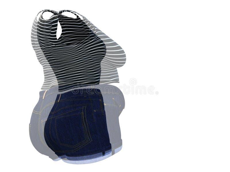 Υπέρβαρη παχύσαρκη θηλυκή εξάρτηση ενδυμάτων εναντίον του λεπτού κατάλληλου υγιούς σώματος απεικόνιση αποθεμάτων