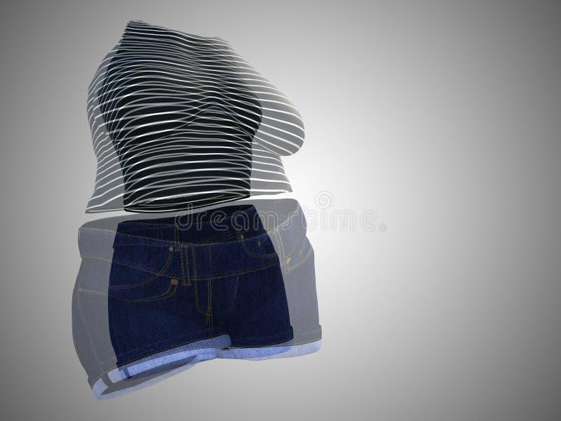 Υπέρβαρη παχύσαρκη θηλυκή εξάρτηση ενδυμάτων εναντίον του λεπτού κατάλληλου υγιούς σώματος διανυσματική απεικόνιση