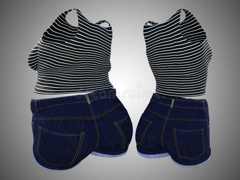 Υπέρβαρη παχύσαρκη θηλυκή εξάρτηση ενδυμάτων εναντίον του λεπτού κατάλληλου υγιούς σώματος ελεύθερη απεικόνιση δικαιώματος