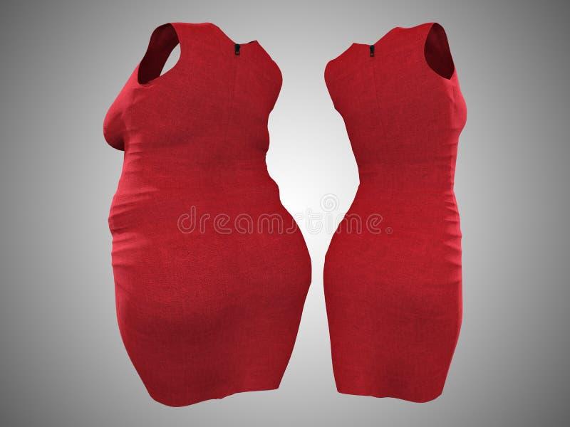 Υπέρβαρη παχύσαρκη θηλυκή εξάρτηση φορεμάτων εναντίον του λεπτού κατάλληλου υγιούς σώματος απεικόνιση αποθεμάτων