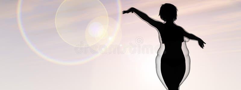 Υπέρβαρο θηλυκό εναντίον του λεπτού κατάλληλου υγιούς σώματος ελεύθερη απεικόνιση δικαιώματος