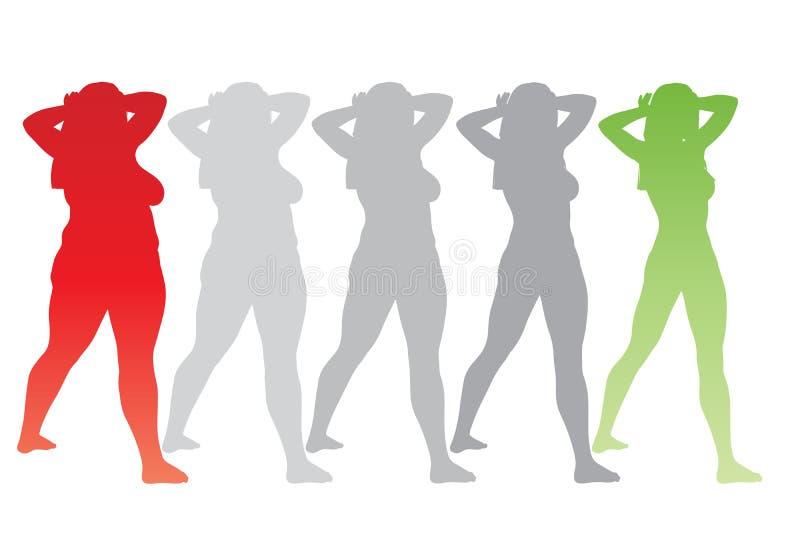 Υπέρβαρο παχύσαρκο θηλυκό εναντίον του λεπτού κατάλληλου υγιούς σώματος διανυσματική απεικόνιση