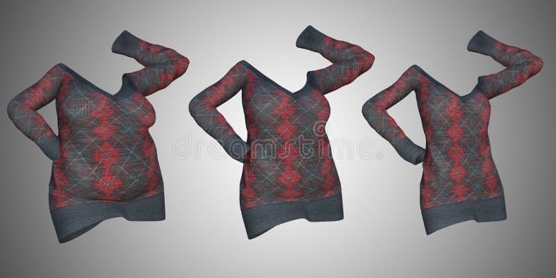 Υπέρβαρο παχύσαρκο θηλυκό φόρεμα πουλόβερ εναντίον του λεπτού κατάλληλου υγιούς σώματος ελεύθερη απεικόνιση δικαιώματος