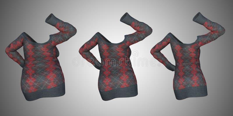Υπέρβαρο παχύσαρκο θηλυκό φόρεμα πουλόβερ εναντίον του λεπτού κατάλληλου υγιούς σώματος απεικόνιση αποθεμάτων