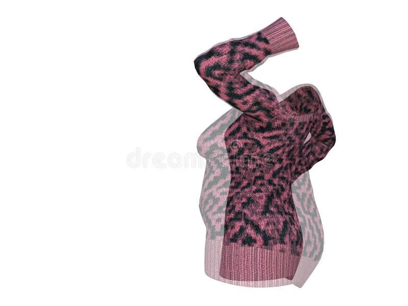 Υπέρβαρο παχύσαρκο θηλυκό φόρεμα πουλόβερ εναντίον του λεπτού κατάλληλου υγιούς σώματος διανυσματική απεικόνιση