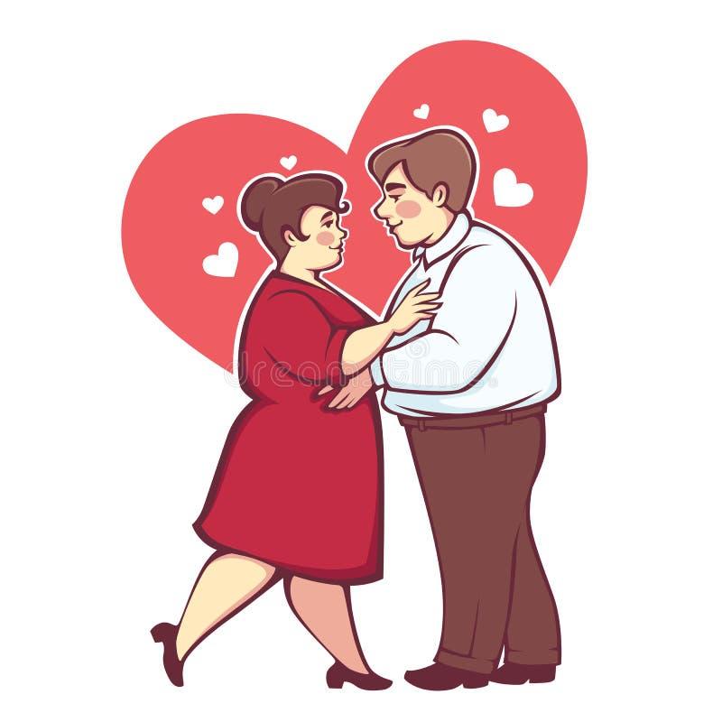 Υπέρβαρο ρομαντικό ζεύγος, ευτυχείς διανυσματικοί άνδρας και γυναίκα δ κινούμενων σχεδίων διανυσματική απεικόνιση