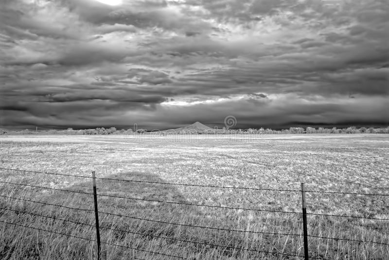 Υπέρυθρη εικόνα ενός χειμερινού τομέα έξω από το λίθο, Κολοράντο στοκ εικόνες