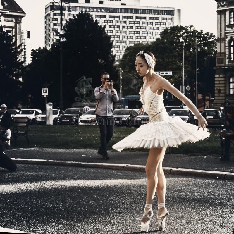 Υπαίθρια απόδοση χορευτών μπαλέτου στοκ εικόνα με δικαίωμα ελεύθερης χρήσης