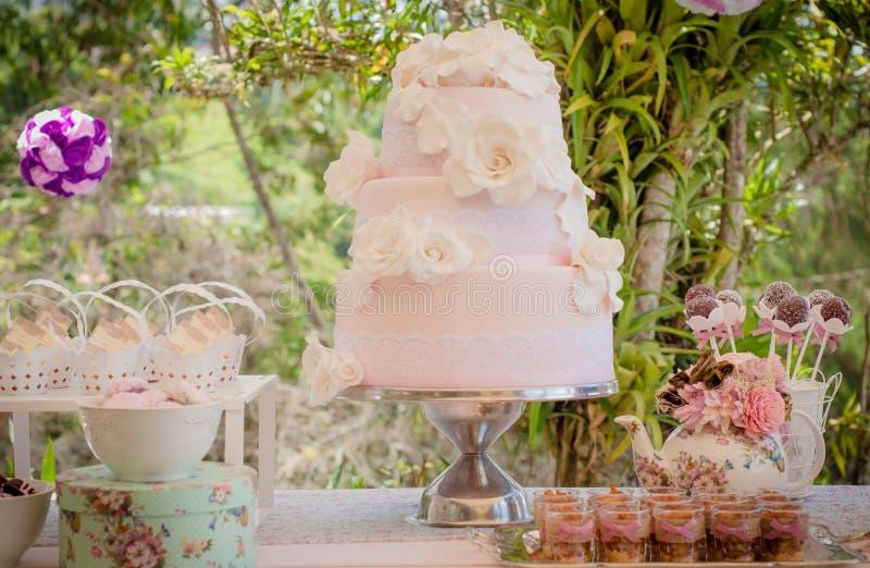 Υπαίθρια γαμήλιο κέικ και plumcakes με τις shabby κομψές ρόδινες διακοσμήσεις ύφους με τα σύγχρονα μαλακά χρώματα στον κήπο κατά  στοκ φωτογραφίες