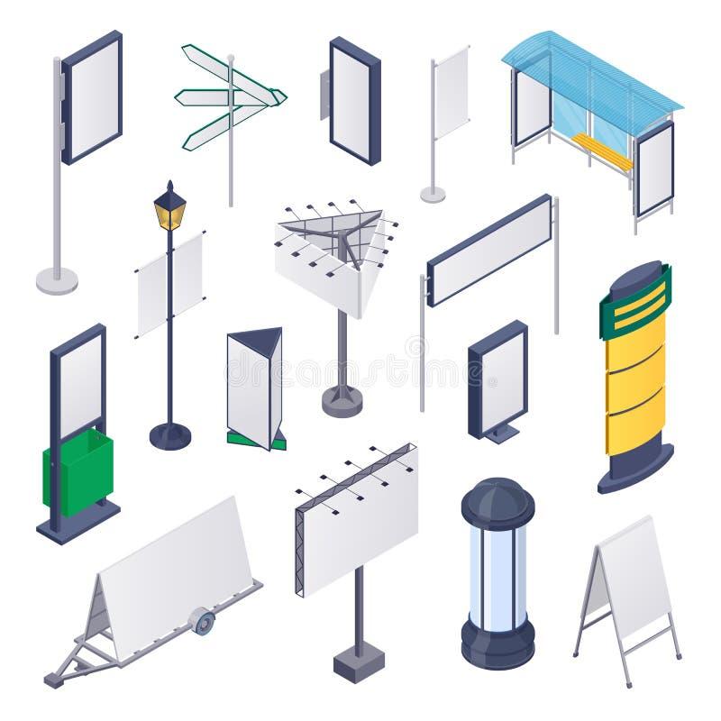 Υπαίθρια διαφήμιση οδών, διανυσματικά τρισδιάστατα isometric στοιχεία σχεδίου Κενοί πίνακες διαφημίσεων, έμβλημα, πρότυπο αφισών απεικόνιση αποθεμάτων