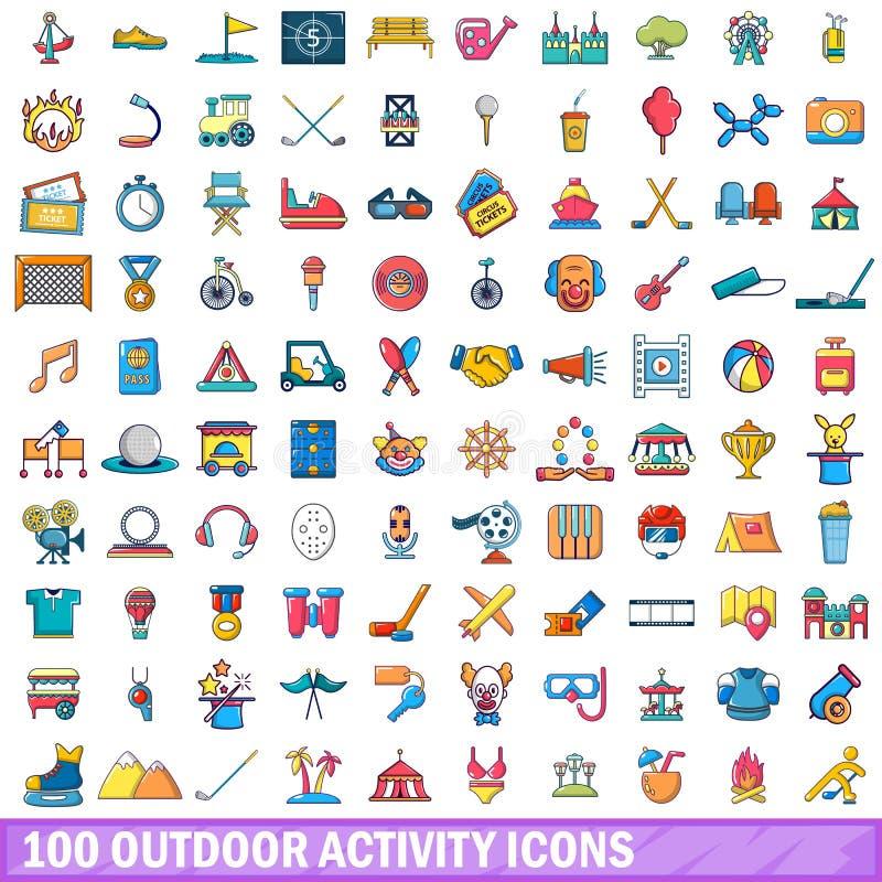 100 υπαίθρια εικονίδια δραστηριότητας καθορισμένα, ύφος κινούμενων σχεδίων απεικόνιση αποθεμάτων
