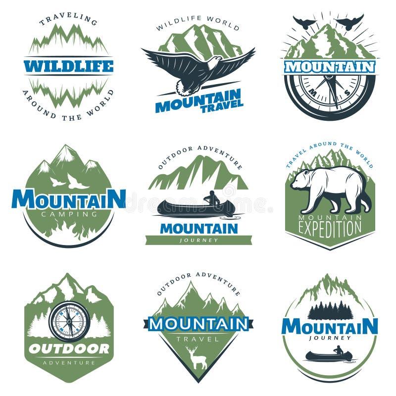 Υπαίθριες περιπέτειες και ζωηρόχρωμα λογότυπα τουρισμού απεικόνιση αποθεμάτων