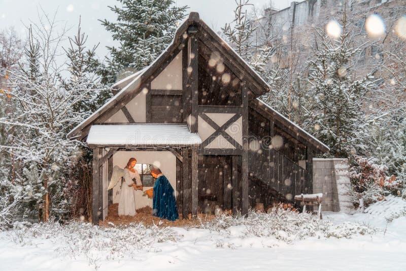 Υπαίθριο παχνί Χριστουγέννων στοκ φωτογραφίες